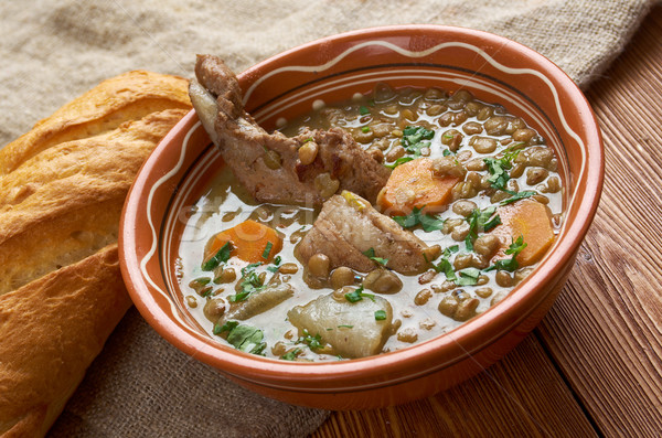 French soup with lentils and Dijon mustard Stock photo © fanfo