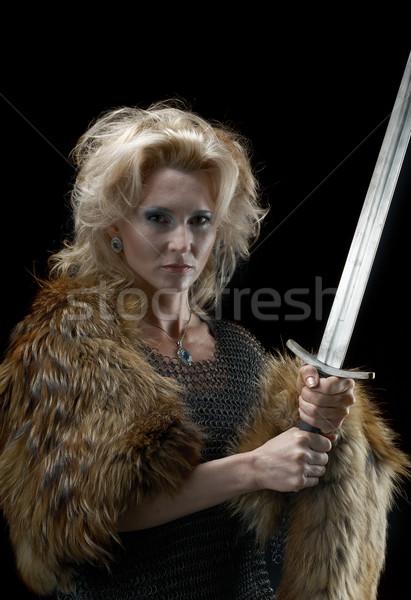 Stockfoto: Meisje · zwaard · mode · haren · portret · retro