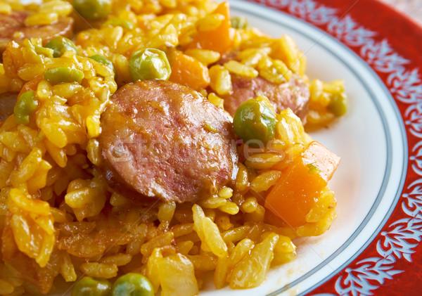 Chorizo geleneksel yemek İspanya hayat pirinç Stok fotoğraf © fanfo