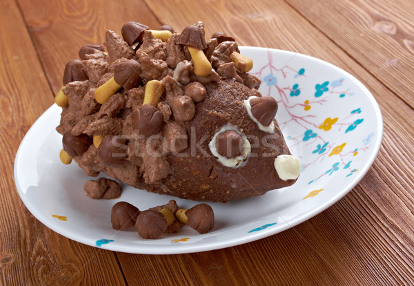 Children's chocolate cake - Hedgehog Stock photo © fanfo