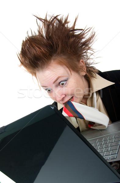 Foto stock: Zangado · louco · empresária · laptop · isolado · branco
