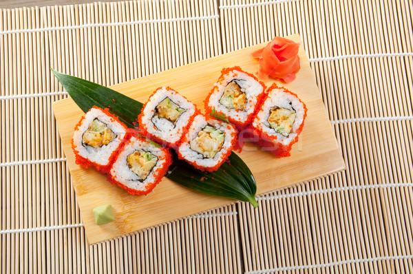 Foto stock: Japonês · sushi · rolar · fumado · peixe · tradicional