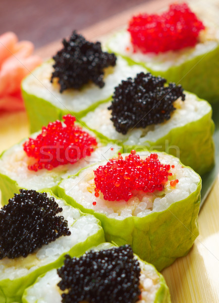 Stock photo: Roll made of Smoked fish and  roe