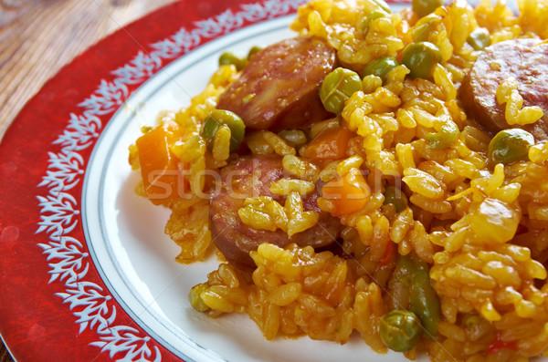 Chorizo traditioneel schotel Spanje leven rijst Stockfoto © fanfo