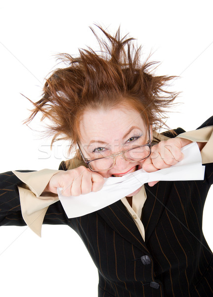 őrült üzletasszony szerződés izolált fehér felirat Stock fotó © fanfo