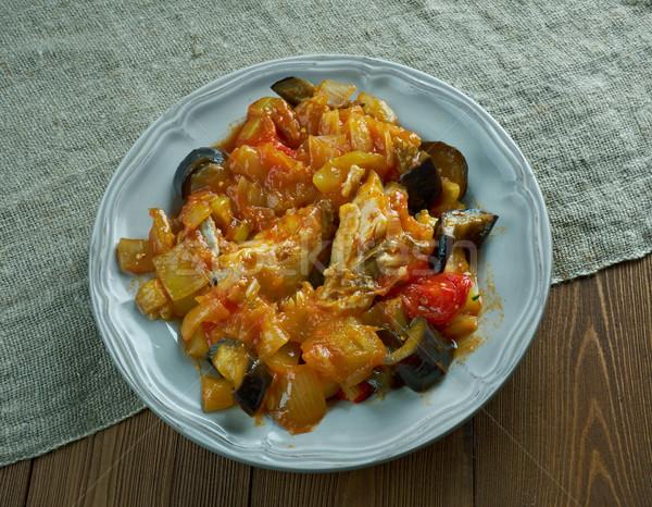 Bakliyat karışık sebze tavuk gıda mutfak Stok fotoğraf © fanfo