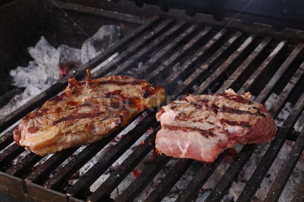 Lombo de vaca bife preparado churrasqueira raso fogo Foto stock © fanfo