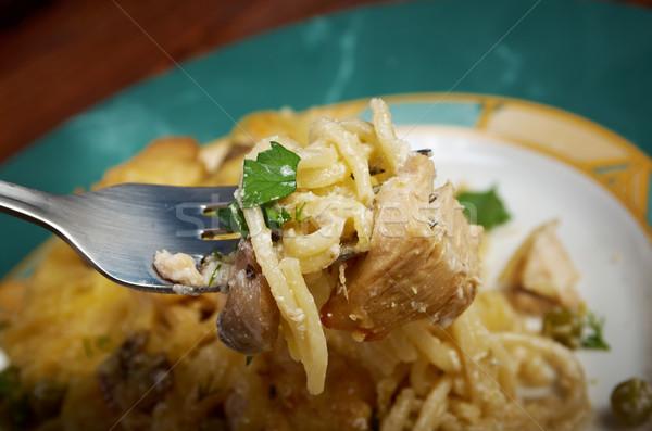 Amerikai edény tyúk gombák friss parmezán sajt Stock fotó © fanfo