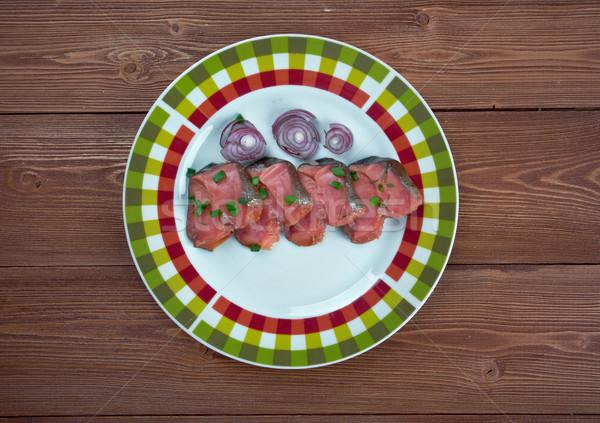 Norvég hal edény pisztráng sózott piros Stock fotó © fanfo
