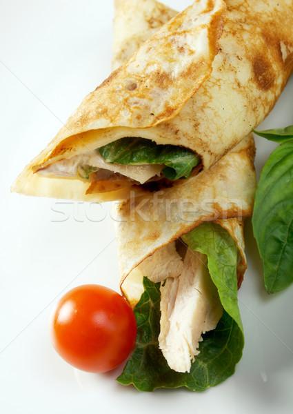 Roulé bourré poulet peu profond alimentaire Photo stock © fanfo