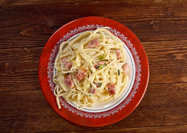 спагетти домашний пасты обеда пластина мяса Сток-фото © fanfo