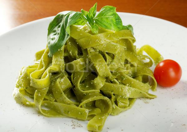 Tagliatelle pasta with pesto  Stock photo © fanfo
