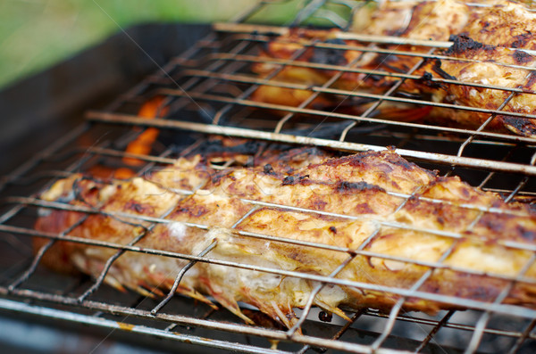grilling sea fishes on campfire grate Stock photo © fanfo