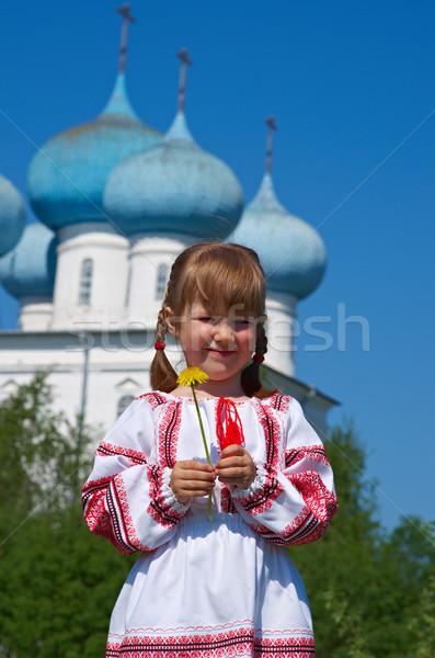 Russo menina igreja little girl ortodoxo árvore Foto stock © fanfo