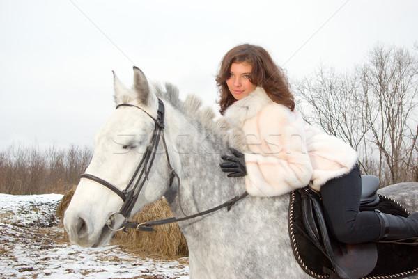 美少女 馬に乗って 馬 雪 ファーム 美しい ストックフォト © fanfo