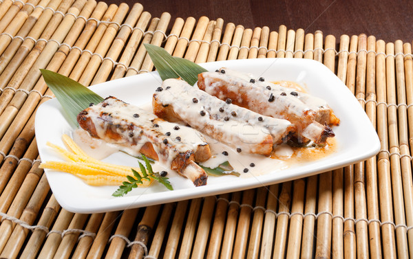 Domuz eti plaka Çin mutfak Stok fotoğraf © fanfo