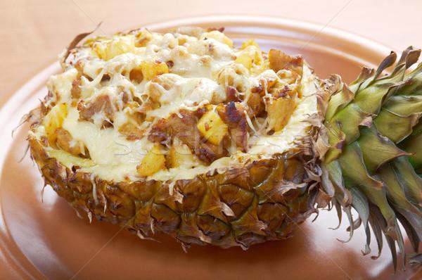 Hús sajt grillezett ananász közelkép piros Stock fotó © fanfo
