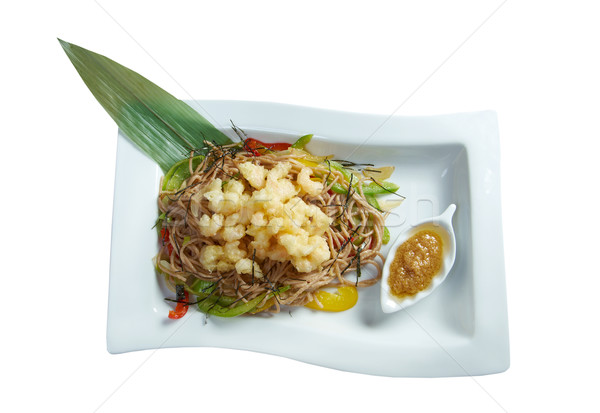 Soba Noodle and Tempura Seafood and Vegetables Stock photo © fanfo