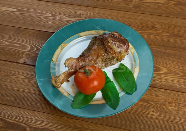Honey garlic glazed  Turkey leg  baked Stock photo © fanfo