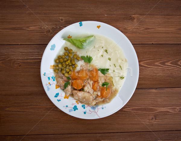Tyúk zöldségek főzés sárgarépa kanál hagyma Stock fotó © fanfo