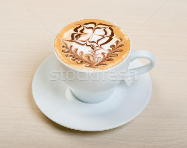 Cappucchino közelkép bár csésze friss krém Stock fotó © fanfo