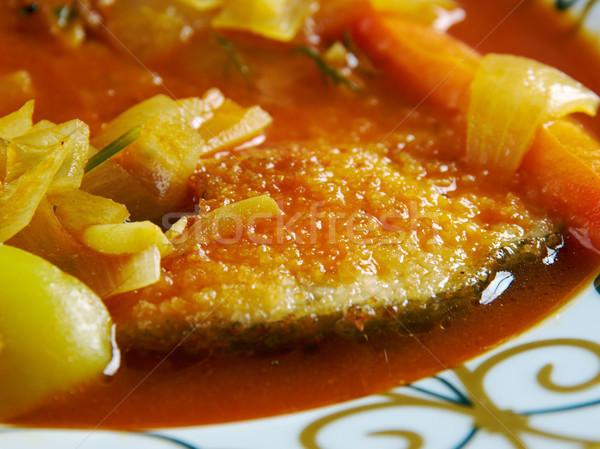 Peixe tempero frito picante caril Foto stock © fanfo