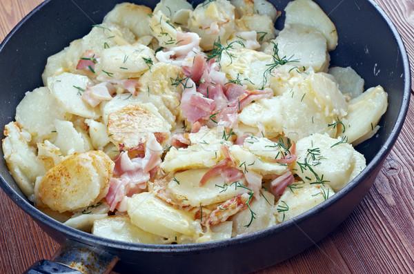 Edény hagyományosan szeletel krumpli vegyes vékony Stock fotó © fanfo