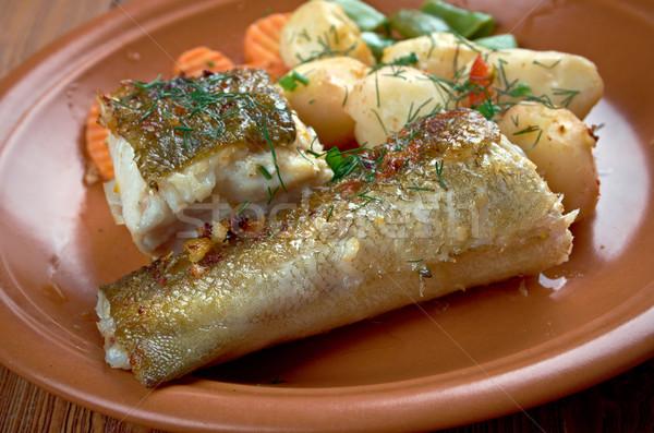 Házi készítésű grillezett hal eszik étel egészséges Stock fotó © fanfo