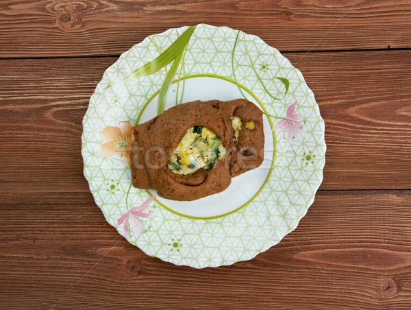 W. żyto ciasto jaj zielone cebule Zdjęcia stock © fanfo