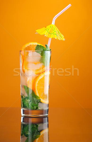 Stock fotó: Mojito · narancs · koktél · citromsárga · szemüveg · zöld