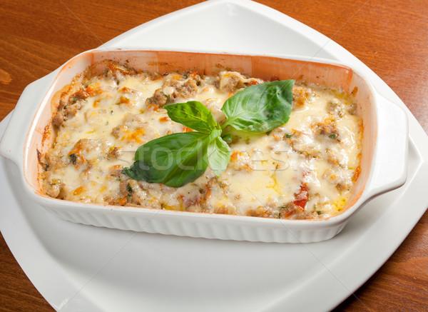 Lasagna carne cucina italiana ristorante formaggio cena Foto d'archivio © fanfo