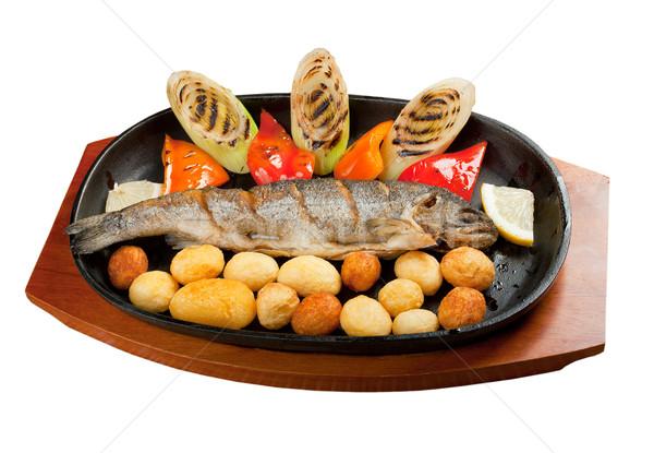 A la parrilla trucha japonés cocina aislado alimentos Foto stock © fanfo