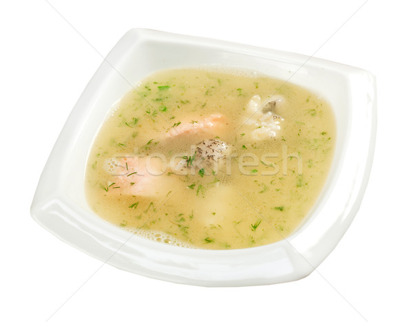 Vegetable soup with salmon Stock photo © fanfo