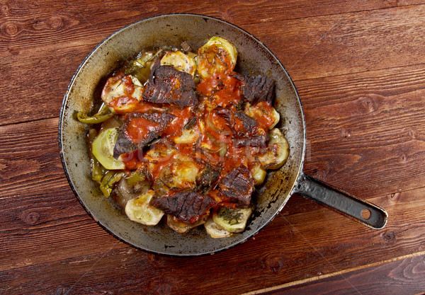 Rundvlees wijn saus groenten restaurant Rood Stockfoto © fanfo