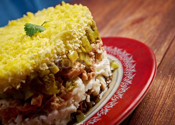 Delicioso salada fígado comida peixe cozinha Foto stock © fanfo