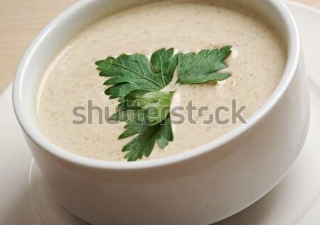 Kremsi çorba hizmet sağlık akşam yemeği beyaz Stok fotoğraf © fanfo