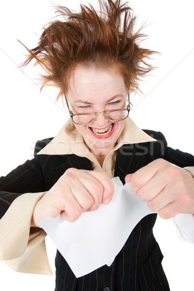 crazy businesswoman breaks contract . Stock photo © fanfo