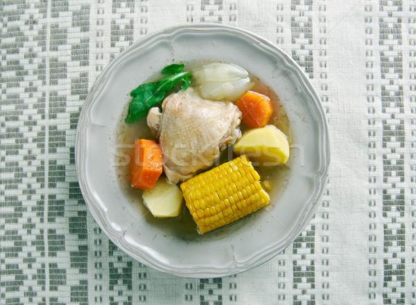 Typowy rosół z kurczaka Kolumbia Wenezuela Panama tabeli Zdjęcia stock © fanfo