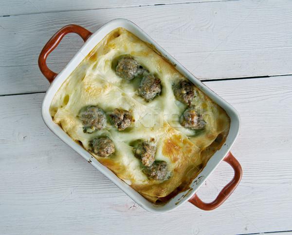 Lasanha projeto queijo jantar macarrão cozinhar Foto stock © fanfo