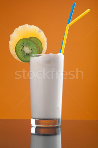 Czekolady owoców żółty pić mleka Zdjęcia stock © fanfo