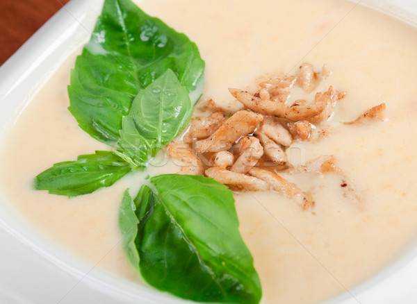 vegetable cream soup with smoked meat  Stock photo © fanfo