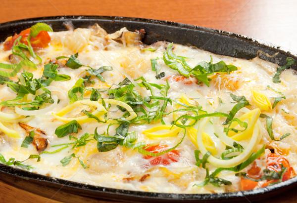 Sült tojások zöldségek újhagyma olasz étel Stock fotó © fanfo