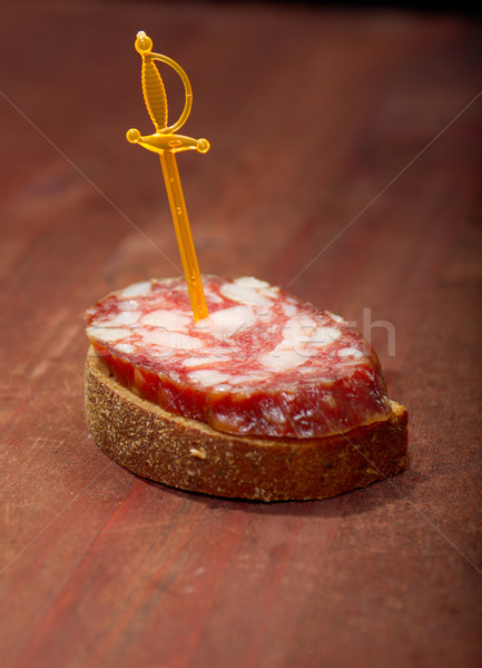 Canape with salami  Stock photo © fanfo