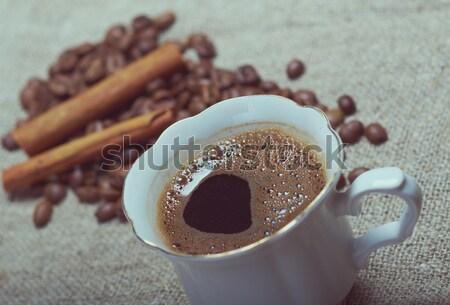 Kávéscsésze fahéj kávé textúra étel kávé Stock fotó © fanfo