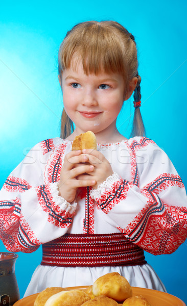 girl eats homemade pie Stock photo © fanfo