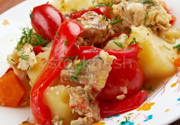 魚 シチュー 野菜 玉葱 緑 ピーマン ストックフォト © fanfo