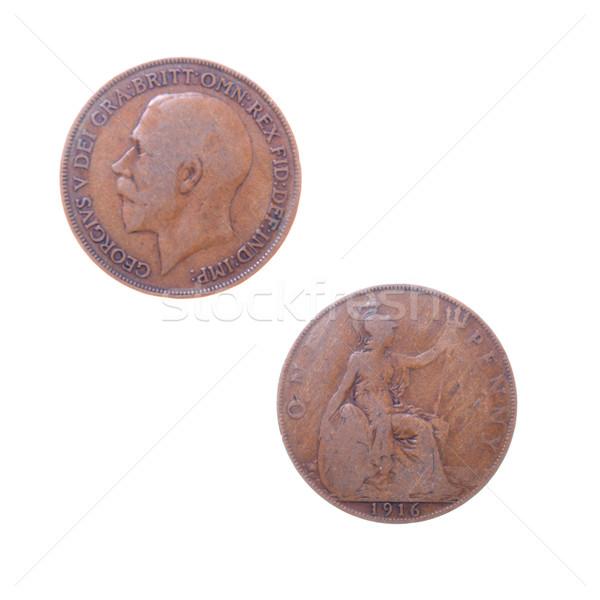öreg érmék Nagy-Britannia különböző országok izolált Stock fotó © fanfo