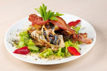 Salad with ham,pineapple,strawberries Stock photo © fanfo