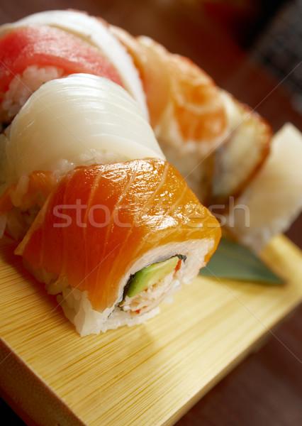 Japán szusi hagyományos japán étel füstölt hal Stock fotó © fanfo