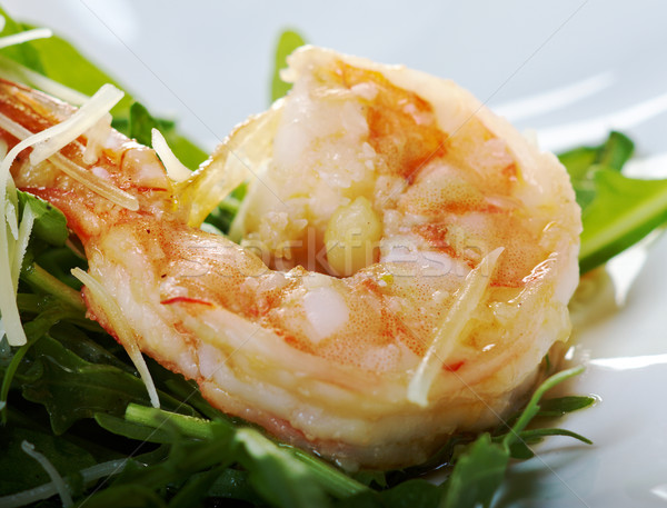 Sałatka krewetka tablicy obiad rakietowe Zdjęcia stock © fanfo